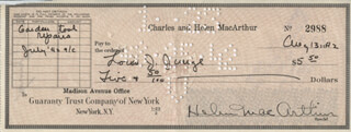 HELEN HAYES - AUTOGRAPHED SIGNED CHECK 08/13/1942
