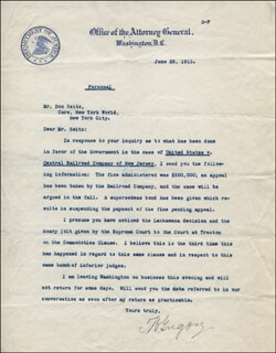 Autographs: THOMAS W. GREGORY - TYPED LETTER SIGNED 06/23/1915