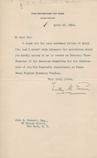 Autographs: LINDLEY M. GARRISON - TYPED LETTER SIGNED 04/10/1913