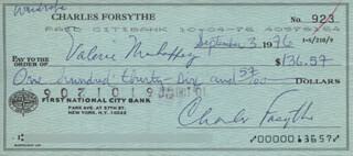 CHARLES FORSYTHE - AUTOGRAPHED SIGNED CHECK 09/03/1976 CO-SIGNED BY: VALERIE MAHAFFEY
