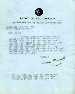 IRVING MANSFIELD - TYPED LETTER SIGNED