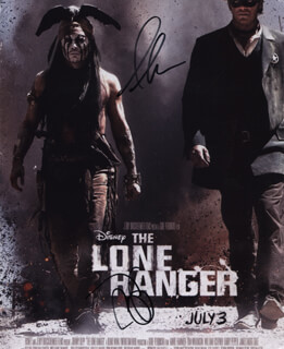 THE LONE RANGER MOVIE CAST - AUTOGRAPHED SIGNED PHOTOGRAPH CO-SIGNED BY: JOHNNY DEPP, ARMIE HAMMER