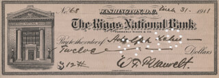 COLONEL WILLIAM F. BLAUVELT - AUTOGRAPHED SIGNED CHECK 03/31/1911