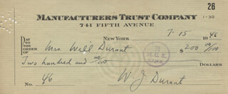WILL DURANT - AUTOGRAPHED SIGNED CHECK 07/15/1946 CO-SIGNED BY: ARIEL DURANT