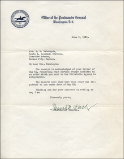 Autographs: JAMES A. FARLEY - TYPED LETTER SIGNED 06/01/1936