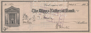 Autographs: MAJOR GENERAL WILLIAM LASSITER - CHECK SIGNED 06/05/1923