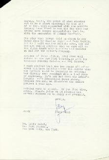 JERRY WALD - TYPED LETTER SIGNED 10/26/1953