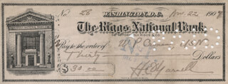 ADMIRAL HARRY ERVIN YARNELL - AUTOGRAPHED SIGNED CHECK 11/22/1907 CO-SIGNED BY: CAPTAIN WILLIAM PIGOTT CRONAN