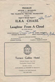 LAUGHTER FROM A CLOUD PLAY CAST - SHOW BILL SIGNED CO-SIGNED BY: ILKA CHASE, CYNTHIA LATHAM, DONALD MACDONALD, SUSAN DOUGLAS, POLLY ROWLES, LARRY CANARD, GENE BYRON, PETER HARRIS, BARRY MITCHELL, RALPH LONGLEY