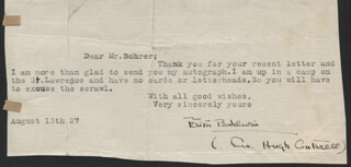 Autographs: FAITH BALDWIN - TYPED LETTER SIGNED 08/13/1927