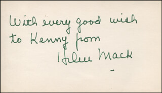 HELEN MACK - AUTOGRAPH NOTE SIGNED