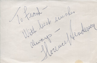 FLORENCE HENDERSON - AUTOGRAPH NOTE SIGNED