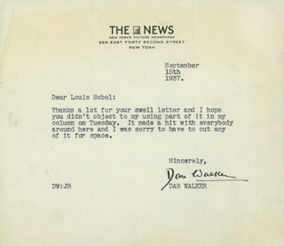 DANTON WALKER - TYPED LETTER SIGNED 09/15/1937
