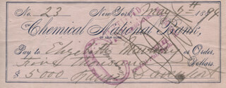 FANNY DAVENPORT - AUTOGRAPHED SIGNED CHECK 05/07/1894 CO-SIGNED BY: ELISABETH MARBURY