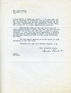 ISAAC PACHT - TYPED LETTER SIGNED 11/06/1940