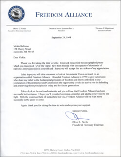 LT. COLONEL OLIVER L. NORTH - TYPED LETTER SIGNED 09/28/1998