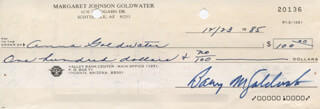 BARRY GOLDWATER - AUTOGRAPHED SIGNED CHECK 12/23/1985