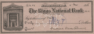 BRIGADIER GENERAL FREDERICK F. RUSSELL - AUTOGRAPHED SIGNED CHECK 03/04/1918