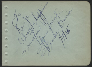 GRACIE BARRIE - AUTOGRAPH NOTE SIGNED 01/17/1935