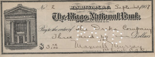 MAJOR GENERAL MAXWELL MURRAY - AUTOGRAPHED SIGNED CHECK 09/02/1907