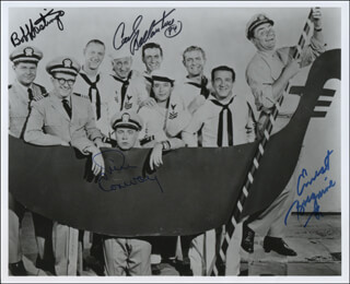 McHALE'S NAVY TV CAST - AUTOGRAPHED SIGNED PHOTOGRAPH 1994 CO-SIGNED BY: TIM CONWAY, ERNEST BORGNINE, CARL BALLANTINE, BOB HASTINGS