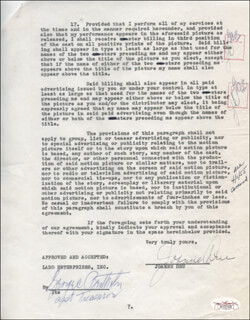 JOANNE DRU - CONTRACT MULTI-SIGNED 04/01/1955