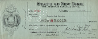 GOVERNOR HERBERT H. LEHMAN - AUTOGRAPHED SIGNED CHECK 08/10/1934 CO-SIGNED BY: FREDERICK BARDON