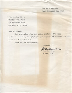 JONATHAN MOORE - TYPED LETTER SIGNED 05/26/1979
