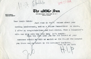 H. I. PHILLIPS - TYPED LETTER SIGNED 04/29/1944