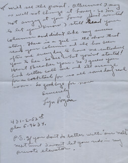 LYN LOGAN - AUTOGRAPH LETTER SIGNED 10/29/1940