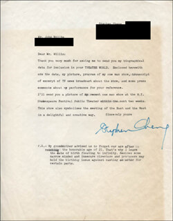 Autographs: STEPHEN CHANG - TYPED LETTER SIGNED 06/15/1972
