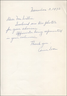ANNE IVES - AUTOGRAPH LETTER SIGNED 11/03/1973