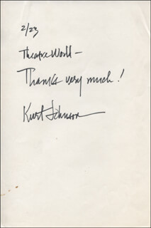 KURT JOHNSON - AUTOGRAPH NOTE SIGNED