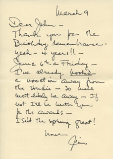JAMES MITCHELL - AUTOGRAPH LETTER SIGNED 03/09/1985
