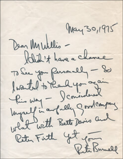 PETER BURNELL - AUTOGRAPH LETTER SIGNED 05/30/1975