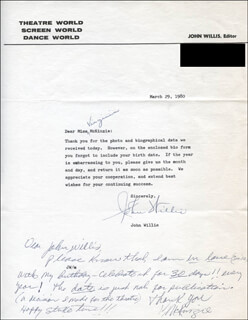 JOHN A. WILLIS - TYPED LETTER SIGNED 03/29/1980 CO-SIGNED BY: VIRGINIA MCKINZIE