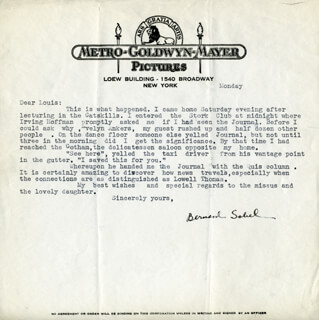 BERNARD SOBEL - TYPED LETTER SIGNED