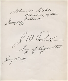 Autographs: JOHN W. NOBLE - SIGNATURE(S) 01/12/1891 CO-SIGNED BY: JEREMIAH M. RUSK