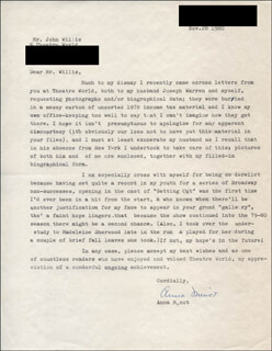 ANNA MINOT - TYPED LETTER SIGNED 11/28/1980
