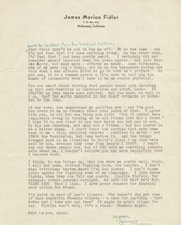 JAMES JIMMIE FIDLER - TYPED LETTER SIGNED 10/20/1941