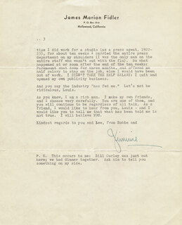 JAMES JIMMIE FIDLER - TYPED LETTER SIGNED 10/14/1941