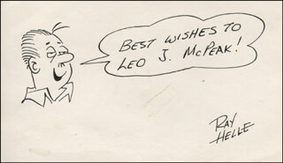 Autographs: RAY HELLE - INSCRIBED ORIGINAL ART SIGNED