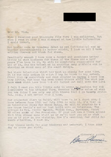 DENNIS PATRICK HARRISON - TYPED LETTER SIGNED 05/24/1950