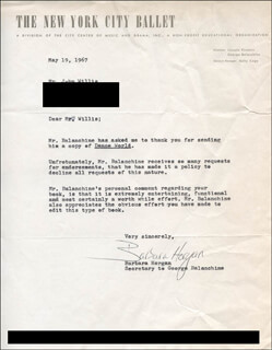 BARBARA HORGAN - TYPED LETTER SIGNED 05/19/1967