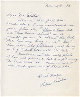 HELEN MARTINI - AUTOGRAPH LETTER SIGNED 11/19/1973