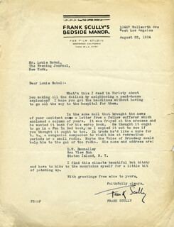 FRANK SCULLY - TYPED LETTER SIGNED 08/22/1934