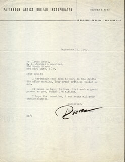 RUSSELL PATTERSON - TYPED LETTER SIGNED 09/16/1940