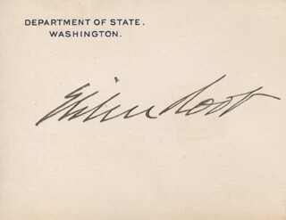 Autographs: ELIHU ROOT - PRINTED CARD SIGNED IN INK