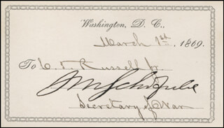 Autographs: LT. GENERAL JOHN M. SCHOFIELD - PRINTED CARD SIGNED IN INK 03/01/1869