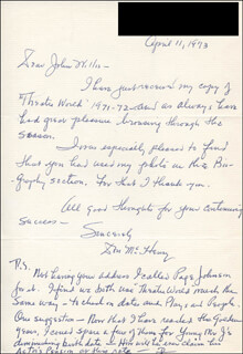 DON McHENRY - AUTOGRAPH LETTER DOUBLE SIGNED 04/11/1973